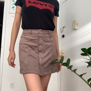 Olivaceous Taupe Microsuede Mini Skirt